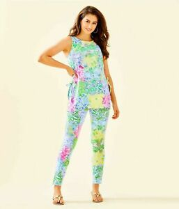 NEW Lilly Pulitzer DONNA TUNIC + PANTS SOUTH OCEAN SKINNY Cheek to Cheek S