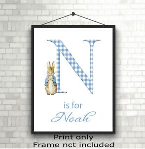 Personalised Peter Rabbit Print Children's Nursery Room Wall Art Poster Gift
