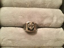 USN Navy Ring Size 9.75 Ladies Silver Tone Onyx Anchor Signet Veteran Gift 9 3/4