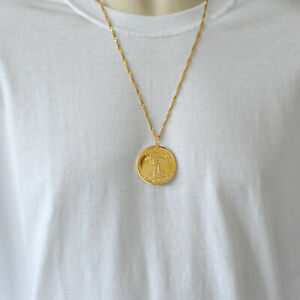 $50 Walking Liberty Lady Necklace Pendant Gold Coin Jewelry 24K Gold Plated