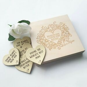 Personalised Reasons Why I Love You Mum, Mothers Day Gift Leather Hearts Giftbox