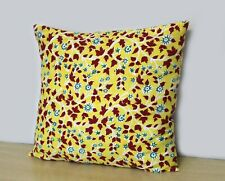 "Indian Yellow & Red Print Hand Block Floral 16"" Cushion Cover Pillow Case Covers"
