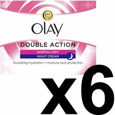 6 x Olay Double Action Moisturiser Normal Dry Skin Night Cream Classic Care 50ml