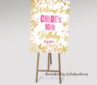 Printable Personalised Welcome Sign Birthday Party Pink Gold 16th 18th 21st 30th