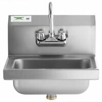 Hand Wash Sink w/ FAUCET Commercial Stainless Steel Wall Mount Kit NSF 17 x 15