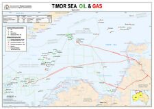 Timor Sea Oil & Gas Map Laminated
