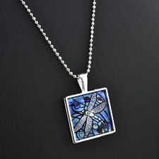 Charm BLUE DRAGONFLY Insect Spring Garden Glass Tile Silver Pendant Necklace