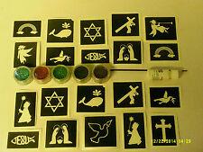 Historia de la Biblia brillo temática conjunto tatuaje + Plantillas + cruz