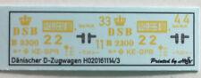 Dänischer D-Zugwagen Decals 1:160 oder Spur N
