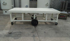White Painted Industrial Steel Work Utility Table Cart 9'x4'
