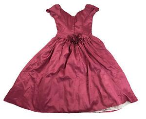 Vintage 1980s Pink Taffeta Formal Dress Size 14