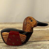 Folk Art Duck Paperweight Golf Club Wood Carved OOAK Carving Vintage Handmade
