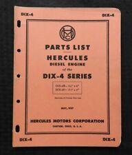 Genuine 1957 Hercules Dix 4b Dix 4d 4 Cyl Diesel Engine Parts Catalog Manual