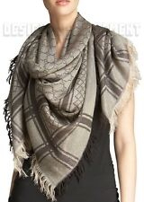 GUCCI brown shimmer GG Diamante CAVENDISH Giant 55 PASHMINA shawl scarf NWT Auth