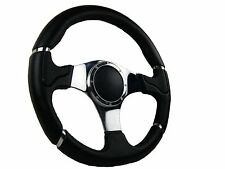 CHROME MILLENNIUM SPORTS STEERING WHEEL 350mm 6x70mm fits Momo OMP boss kit