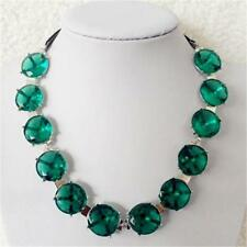 CG2659...NECKLACE WITH LARGE GREEN FAUX GEMSTONES - FREE UK P&P