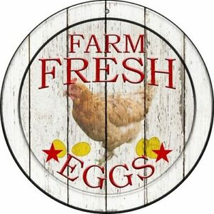 "FARM FRESH EGGS FARMHOUSE STYLE 12"" ROUND LIGHTWEIGHT METAL WALL SIGN"