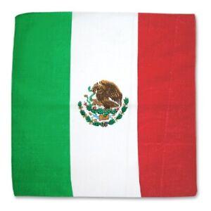 """Mexican Flag Bandanna - Face Covering, Scarf, Headband, Bandana, Cotton, 22"""""""