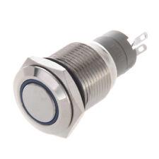 Interruttore a Pulsante in Metallo con LED Blu 16mm 12V 3A per Auto M3D4