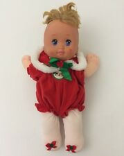 1991 Mattel Magic Nursery Holiday Baby Christmas Outfit Red White Tights Bow 13""