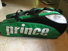 New listing Prince 6 Pack Tennis Racquet Bag W/Padded Shoulder Strap - Green White Black