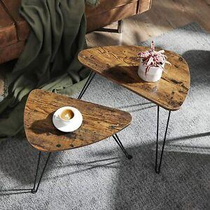 Industrial Nest Tables Set 2 Vintage Side End Coffee Rustic Metal Hairpin Legs