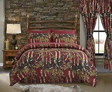 FULL SIZE 7 PC CAMO SET!! BURGUNDY COMFORTER SHEETS PILLOWCASES CAMOUFLAGE