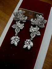 Samantha Wills Earring Bridal Crystal Dark Romance Long Ornate Filigree NWT $179