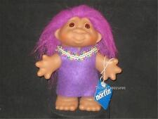 """5"""" 2005 VIOLET HAIRED DAM GIRL TROLL PURPLE TUNIC DECORATED W/RICK RACK! V570"""
