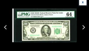 A St. Louis PMG Choice Uncir 64 RARE FRED VINSON Fr. 2154-H $100 1934B Federal