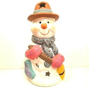 "Ceramic Snowman Candle Holder Tea Light Christmas Winter Decoration Hat Stars 7"""