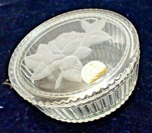 French Cristal d'Arques Crystal Oval Trinket Vanity Box, Retro - Intaglio Flower
