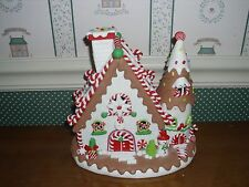 """KURT ADLER-9""""H- B/O GINGERBREAD LED COOKIE HOUSE -NEW IN BOX-A-AS SHOWN"""