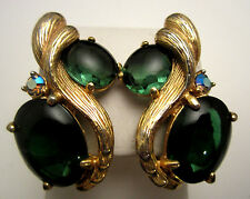 "Rare Vtg 1-1/2"" Signed Schiaparelli Emerald Green Rhinestone Clip On Earrings A1"