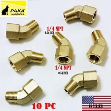 10 PC - 1/4 Inch NPT 45 Degree Street Pipe Elbow brass thread male female