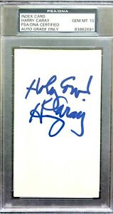 HARRY CARAY Signed & Inscr INDEX CARD PSA Authenticated & Encapsulated GEM MT 10