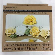 """Yellow 6"""" Paper Flowers Kit Recollections Craft It Big Bloom Party Wedding Pack"""