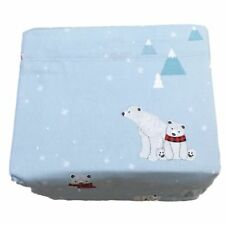 Cuddle Duds Blue Polar Bears Flannel Sheet Set Queen Bed Sheets Bedding