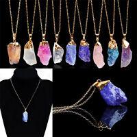 Nuovo pietra naturale quarzo pietre preziose ciondolo collana donna irregolare#C