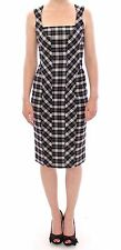 Knee Length Wool Blend Check Dresses for Women