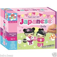 Kids Create Paint your own Japanese Dolls Girls Craft Colouring Activity Toys