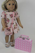 "Lt Pink Dots Trunk Doll Suitcase for 18"" American Girl  Widest Clothes Selection"