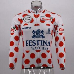 Tour de France King of Mountains Festina Retro Cycling Jersey Long Sleeve
