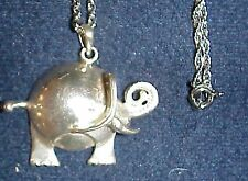NEW PRICE..LOOK..STERLING CHUBBY ELEPHANT..EAR & TAIL TWO DIMENSIONAL,CARVED