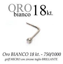 Piercing da naso ORO BIANCO 18kt.a griff MICRO ZIRCONE swarovsky white GOLD 18kt