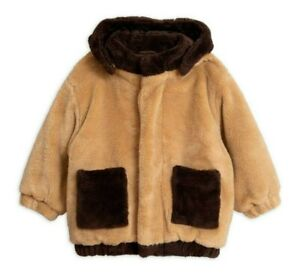 AUTHENTIC Mini Rodini Forever Young Faux Fur Hooded Jacket - Beige - 128/134