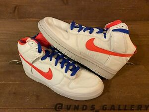 2009 Nike Dunk High Premium Nylon Platinum Sail Red 354713 062 Sz 12 New Mens