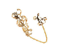 Fashion Pretty Jewelry Chain Link Rhinestone Ring Rose Flower Double Finger Ring