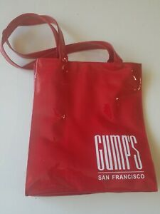 GUMPS San Francisco NEW Red Bag Patent Leather Department Store Shopping~Rare!!