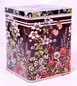 1982 Old Stock Delma Design Flower and Butterfly Black Tin Enesco